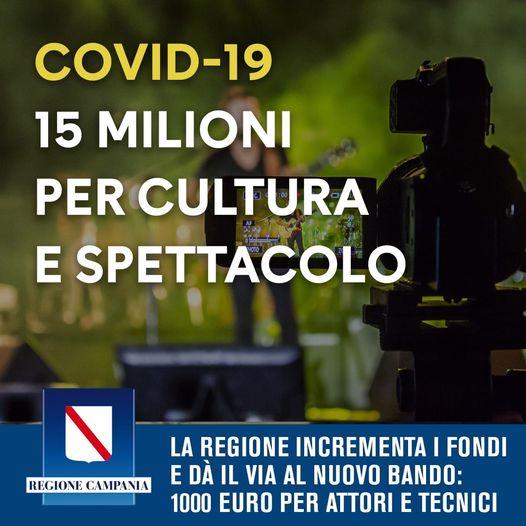 Coronavirus: dalla Regione Campania arriva lo stanziamento per 15 milioni destinato agli operatori dello spettacolo. Parte un nuovo bando per un contributo di 1000 euro ad attori, tecnici e operatori